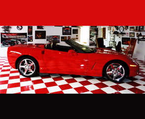 Promo Red Tile And Car Large on Remnants Carpet With Bound Edges